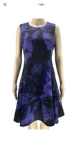 DKNY PURPLE BLACK FLORAL SLEEVELESS FIT & FLARE COCKTAIL DRESS SIZE 10 - $68.31