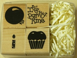 Set 4 Rubber Stamps It's Party Time W184 Nib D.O.T.S./CTMH Balloon Candle Cake - $3.89