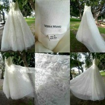 Vera Wang Hannah Ivory White Wedding Dress 8 Strapless Ball Gown Bridal ... - $1,329.05