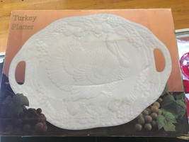 "Embossed White Porcelain Large Turkey Platter Rare 21"" L1 - $19.34"