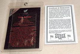 WWF Smell What The Rock Is Cookin' Limited Edition Ticket With-U Stub Ho... - $36.78