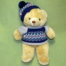 "20"" Vintage Commonwealth Mc Crory Co. Teddy Bear Blue Knit Hat Sweater Tan Plush - $28.05"