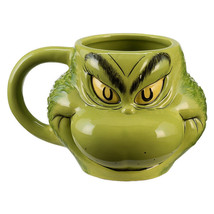 Dr. Seuss How The Grinch Stole Christmas Grinch Sculpted Face 18 oz Cera... - $16.40