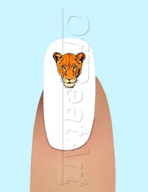 24 Lioness Head Waterslide Nail Art Decals #126