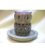 POTTERY OWL CANDLEHOLDER ON TRAY PLATE W TEALITE CANDLES BIRD ANIMAL COL... - $15.00