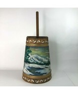 Hand Painted Decorative Wooden Butter Churn Lake Mountain Winter Scene Signed - €32,31 EUR