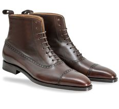 Men Two Tone High Ankle Laceup Handmade Rounded Plain Toe Genuine Leather Boots image 3