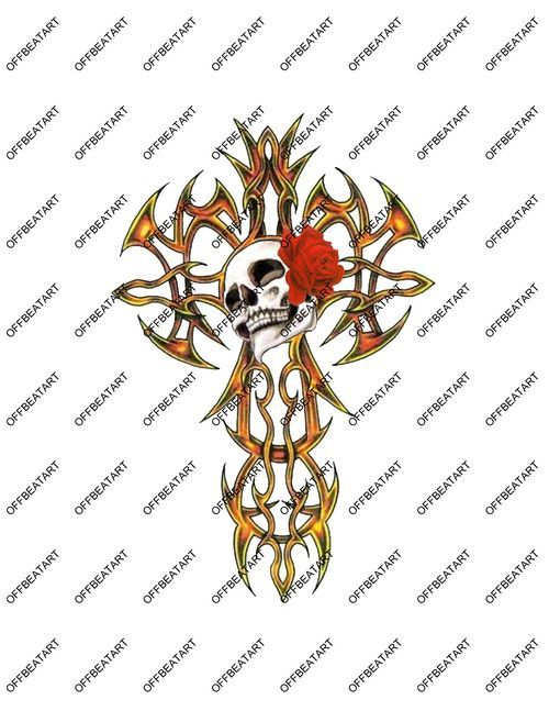 Hot Rat Rod Vinyl Tribal Cross,Skull and Rose Decal
