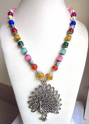 Indian Bollywood Oxidized Figure Pendant Pearls Necklace Women's Fashion Jewelry image 4
