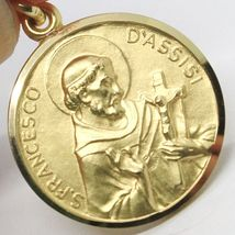 18K YELLOW GOLD ST SAINT FRANCIS FRANCESCO ASSISI MEDAL, MADE IN ITALY, 19 MM image 3