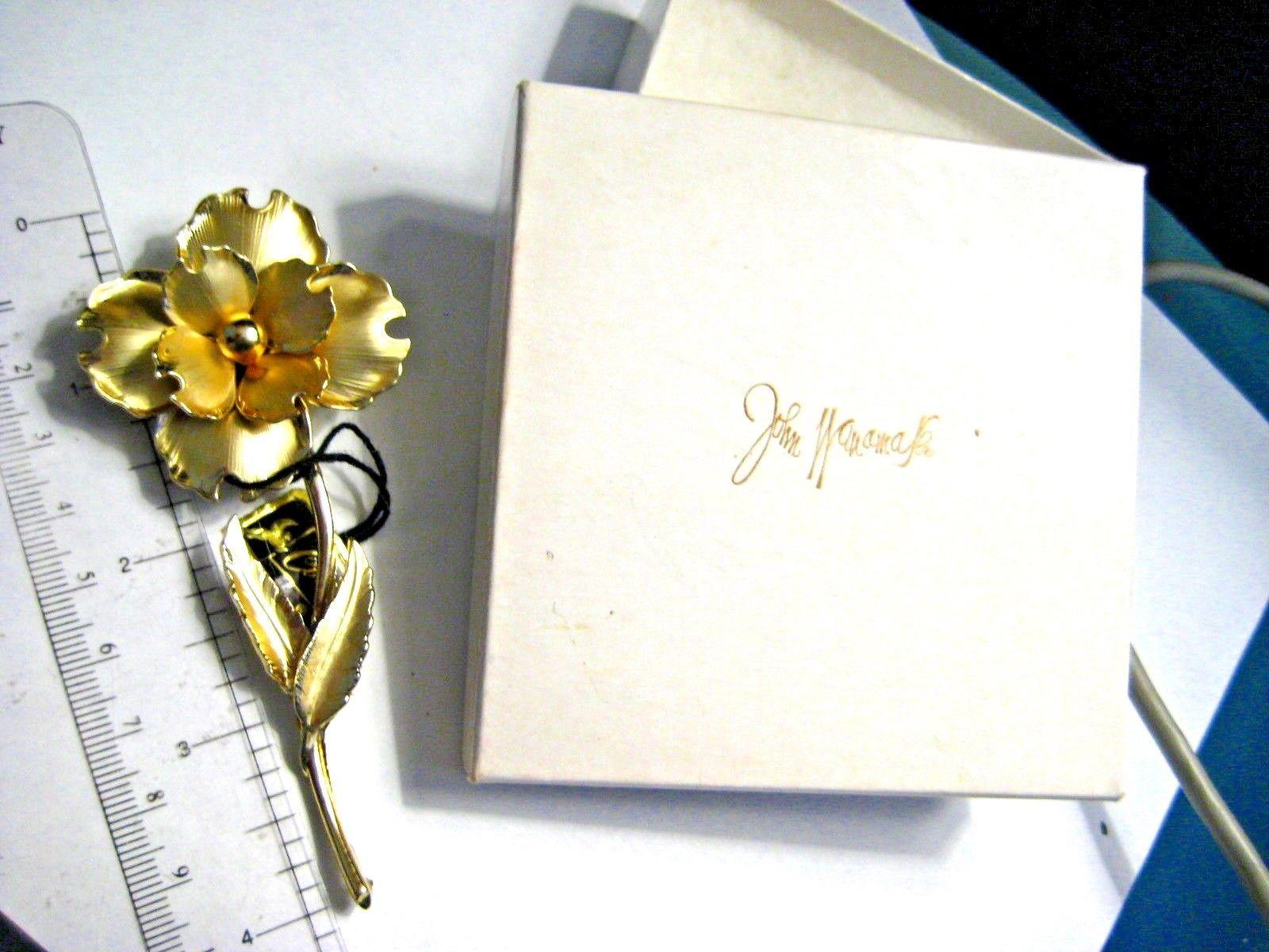 Large Vintage CORO Brooch Gold tone Flower in Original John Wanamaker Box Tags