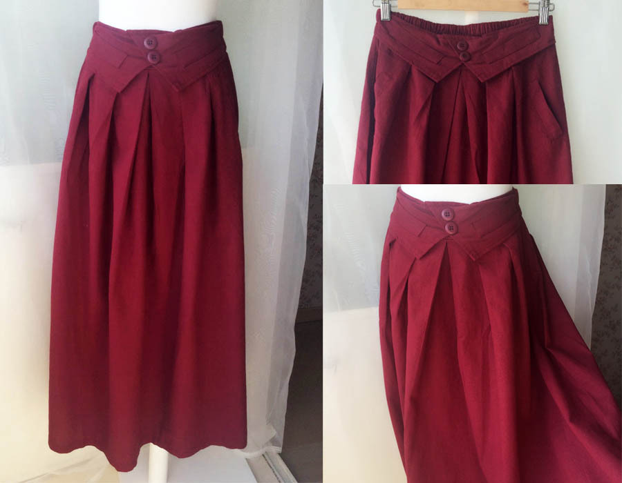 Women Pleated Long Linen Cotton Skirts Outfit Casual Skirt - Burgundy, One Size