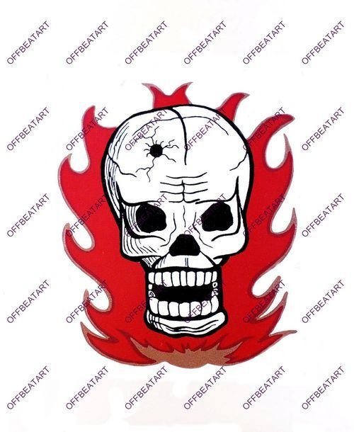 Hot Rat Rod Vintage Window Decal Impko's Fire Skull