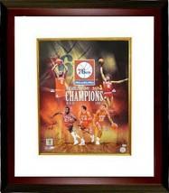 Philadelphia 76ers signed 16x20 Photo Custom Framed Collage 1983 NBA Cha... - £152.04 GBP