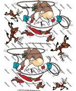 Cowboy Santa and Deers Iron on Shirt Decals Full sheet - $7.95