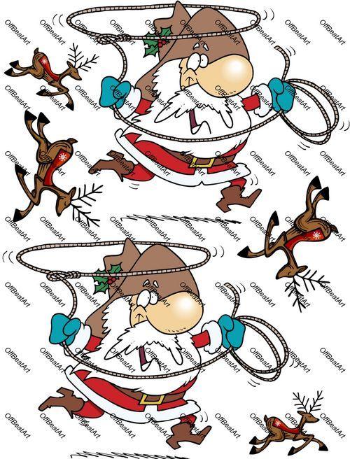 Cowboy Santa and Deers Iron on Shirt Decals Full sheet