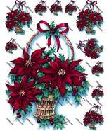 Poinsettia Basket Iron on Shirt Decals Full sheet - $7.95