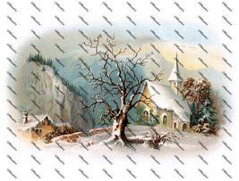 Snowy Church Scene Iron on Shirt Decal Full sheet - $7.95