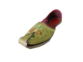 Men Shoes Indian Handmade Jutties Sherwani Leather Espadrilles Khussa Gold US 10 - $39.99