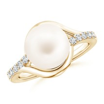 10mm Solitaire Freshwater Cultured Pearl Bypass Ring with Diamonds Gold/... - $361.62+