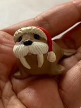 1990 Hallmark - Walrus With Santa HAT- Christmas Merry Miniature Figurine Cute - $23.38