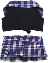 dPois Womens School Girl Cosplay Fancy Dress Costume Crop Top with Plaid Mini Sk image 7