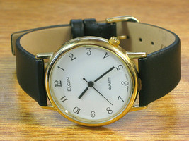 Elgin Vintage Men's Thin Wrist Watch Easy to Read White Dial Japan Quartz - $66.45