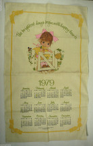 1979 Calendar Gibson Greeting Cards Linen Kitchen Towel Little Girl - $11.99