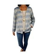 CHICOS L 2 blue beige textured stripes open front jacket pockets vneck b... - $15.84