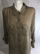 Notations Women Brown Long Sleeve Blouse Button Down Stretch Thin Fabric Size2X - $14.96