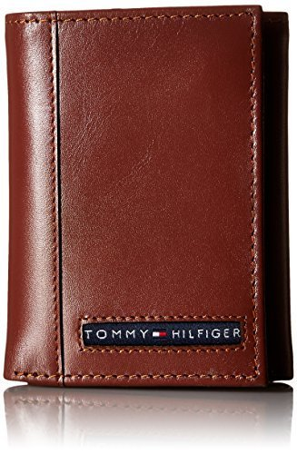 Tommy Hilfiger Men's Leather Cambridge Trifold Wallet,Tan,