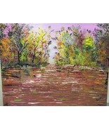 "Original Acrylic Canvas Painting Signed ""THE FALL"" 20 x 16 FREE SHIPPING - $48.38"