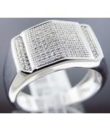 New Men's Ring .925 silver white pave diamonds 0.25ct 6.3gm size 10.5 - $170.20