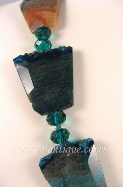 Natural Agate and Crystal Semi Precious Gemstone Necklace