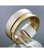 New Plain Stainless Steel beautiful two tone band Ring 8 mm wide Size 9 - $7.62