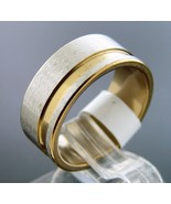 New Stainless Steel beautiful two tone band Ring 8 mm wide Size 11 & 5.8... - $7.64