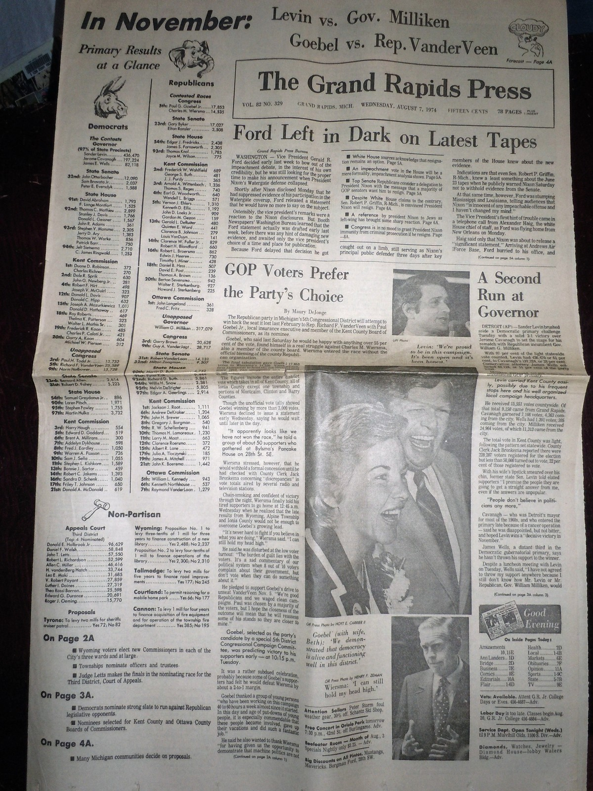 Vintage The Grand Rapids Press Ford Left In Dark & Primary Aug 7 1974