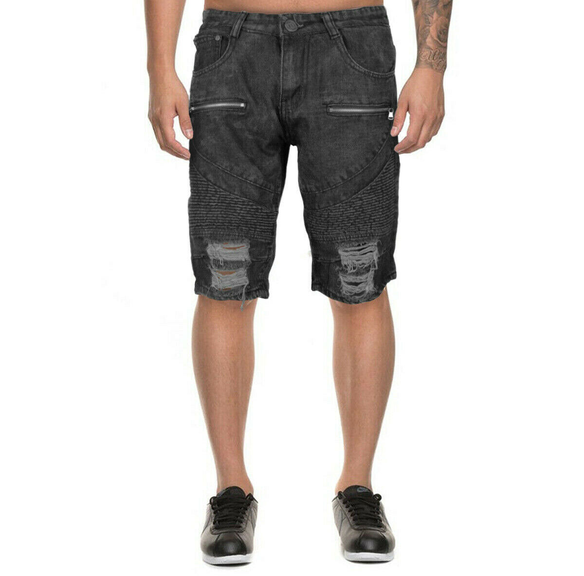 LR Scoop Men's Distressed Denim Slim Fit Moto Skinny Jean Shorts w/ Defect - 34