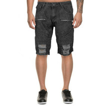 LR Scoop Men's Distressed Denim Slim Fit Moto Skinny Jean Shorts w/ Defect - 34 image 1