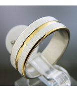New design Stainless Steel two tone band Ring 7 mm wide Size 12.5 & 6.3 grm - $8.35