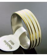 New two tone design Stainless Steel band Ring 7 mm wide Size 12.5 & 6.4 grm - $7.65