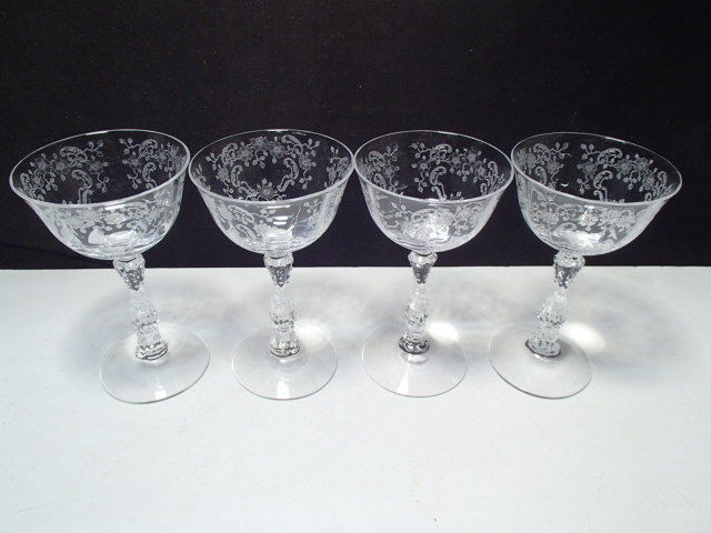 Primary image for 4 Fostoria Meadow Rose Cocktails ~~~ 5 3/8""