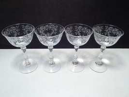"4 Fostoria Meadow Rose Cocktails ~~~ 5 3/8"" - $34.99"