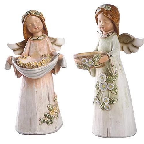 SweetLifeIdea Resin Angel Candle Pillar Holder Set Tealight Candle Holder Home D