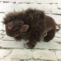 Vintage Unipak Buffalo Bison Plush Dark Brown Stuffed Animal Soft Toy  - $16.82