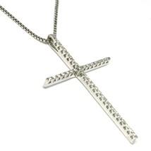 Collier or Blanc 750 18K, Croix Grand Longue 4.6 cm, Diamants, Chaîne Vénitien image 2