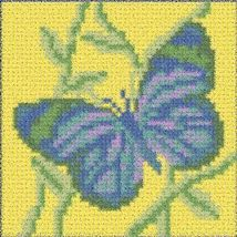 Latch Hook Rug Pattern Chart: Blue Butterfly pillow top - EMAIL2u - $5.50
