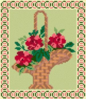 Latch Hook Rug Pattern Chart: FLOWER BASKET- EMAIL2u