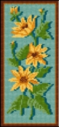 Latch Hook Rug Pattern Chart: Sunflower Panel- EMAIL2u