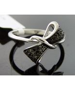 Women black diamonds promise Ring bow tie .925 Silver gold finish.35ct S... - $119.79
